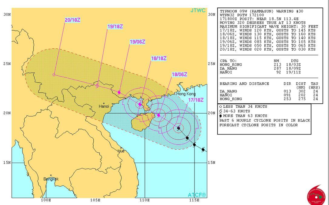 Tin bão khẩn cấp: Bão Rammasun đổ bộ gây mưa lớn cho Bắc Bộ và Bắc Trung Bộ