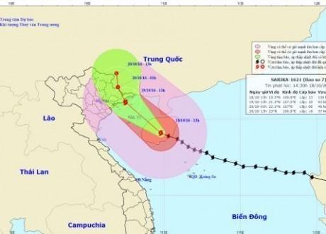Tin bão số 7: từ chiều tối nay Hà Nội có mưa to tới rất to